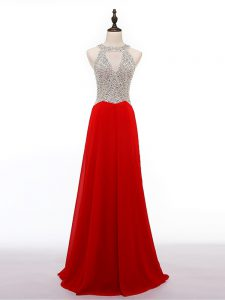 Dynamic Red Empire Scoop Sleeveless Chiffon Zipper Beading Evening Outfits