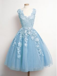 Amazing A-line Quinceanera Court Dresses Light Blue V-neck Tulle Sleeveless Knee Length Lace Up