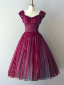 Burgundy Dama Dress for Quinceanera Prom and Party and Wedding Party with Ruching V-neck Cap Sleeves Lace Up