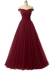 Edgy Ruching Dress for Prom Burgundy Lace Up Sleeveless Floor Length