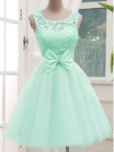 Custom Design Scoop Sleeveless Wedding Guest Dresses Knee Length Lace and Bowknot Apple Green Tulle