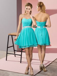 Cute Aqua Blue Empire Chiffon Sweetheart Sleeveless Beading Mini Length Lace Up Junior Homecoming Dress