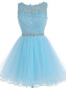 Baby Blue A-line Tulle Scoop Sleeveless Beading and Lace and Appliques Mini Length Zipper Hoco Dress