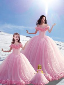 Dramatic Brush Train Ball Gowns 15th Birthday Dress Baby Pink Off The Shoulder Tulle Sleeveless Lace Up