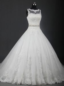 Sleeveless Brush Train Lace Up Lace and Belt Wedding Dress