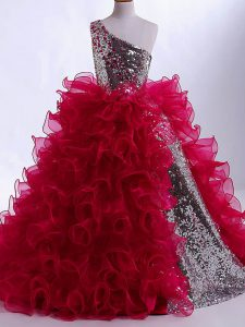 Nice Sleeveless Organza and Sequined Floor Length Zipper Little Girls Pageant Dress Wholesale in Wine Red with Ruffles and Sequins