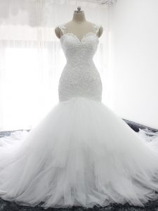 Enchanting White Tulle Backless Straps Sleeveless Wedding Dresses Court Train Beading and Ruffles