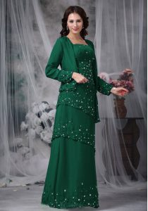 Customized Floor Length Zipper Mother of Groom Dress Green for Prom and Party with Beading