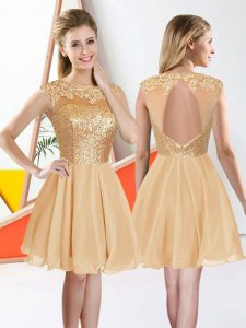 Knee Length A-line Sleeveless Champagne Court Dresses for Sweet 16 Backless