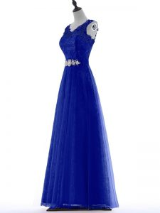 Glamorous Royal Blue A-line Tulle V-neck Sleeveless Beading and Lace Floor Length Zipper Homecoming Dress