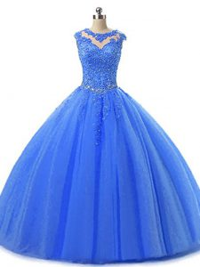 Blue Sleeveless Tulle Lace Up Quinceanera Gowns for Military Ball and Sweet 16 and Quinceanera