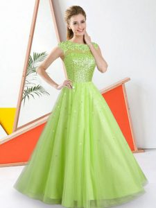 Stunning Tulle Sleeveless Floor Length Bridesmaid Gown and Beading and Lace