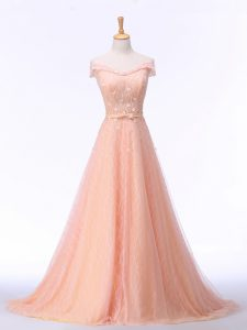 Peach Lace Up Evening Dress Beading and Lace and Belt Sleeveless Brush Train