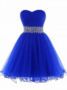 Royal Blue Sleeveless Mini Length Beading and Ruffles Lace Up Cocktail Dress