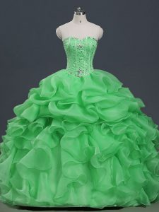 Unique Ball Gowns Sweetheart Sleeveless Organza Floor Length Lace Up Beading and Ruffles and Pick Ups Sweet 16 Dresses