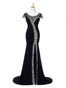 Black Formal Dresses Elastic Woven Satin Brush Train Cap Sleeves Beading and Ruching