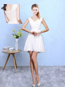 Sophisticated White Sleeveless Chiffon Lace Up Vestidos de Damas for Beach and Wedding Party