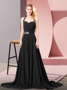 Flare Chiffon Sleeveless Prom Party Dress and Beading and Ruching