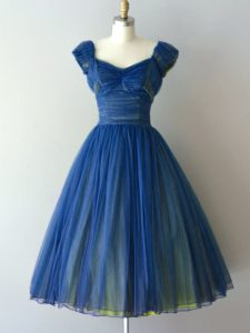 Blue A-line Ruching Quinceanera Court of Honor Dress Lace Up Chiffon and Tulle Cap Sleeves Knee Length
