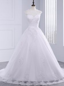 Charming White Sleeveless Brush Train Lace Wedding Dresses