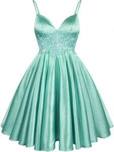 Apple Green Spaghetti Straps Neckline Lace Bridesmaid Dress Sleeveless Lace Up