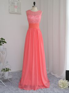 Top Selling Floor Length Empire Sleeveless Watermelon Red Wedding Party Dress Zipper