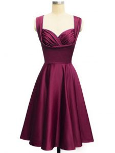 Straps Sleeveless Lace Up Dama Dress for Quinceanera Burgundy Taffeta