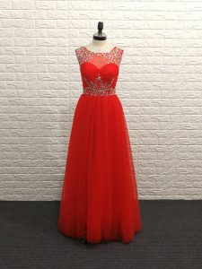 Fashion Sleeveless Beading Backless Prom Dress