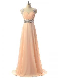 Peach Evening Party Dresses Prom and Military Ball and Sweet 16 and Beach with Beading V-neck Cap Sleeves Lace Up