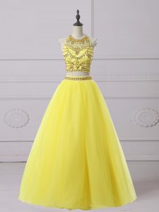 Inexpensive Sleeveless Floor Length Beading Backless Evening Dress with Yellow