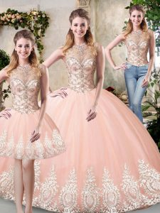 Floor Length Three Pieces Sleeveless Peach Quinceanera Dress Backless