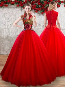 Pretty Red Lace Up High-neck Appliques 15 Quinceanera Dress Organza Short Sleeves