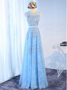 Free and Easy Floor Length Baby Blue Prom Dress Tulle Sleeveless Beading and Lace and Appliques and Belt