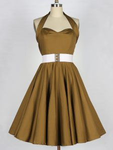 Brown Sleeveless Knee Length Belt Lace Up Bridesmaid Dress
