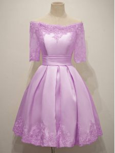 Lilac Off The Shoulder Neckline Lace Vestidos de Damas Half Sleeves Lace Up