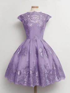 Smart Knee Length Lavender Dama Dress Lace Cap Sleeves Lace