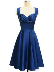 Great Royal Blue Empire Straps Sleeveless Taffeta Knee Length Lace Up Ruching Quinceanera Dama Dress