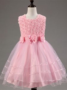 Top Selling Ruffled Layers and Hand Made Flower Girls Pageant Dresses Baby Pink Zipper Sleeveless Knee Length