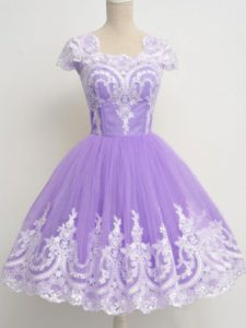 A-line Quinceanera Court of Honor Dress Lavender Square Tulle Sleeveless Knee Length Zipper