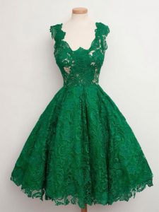 Knee Length Green Wedding Guest Dresses Lace Sleeveless Lace