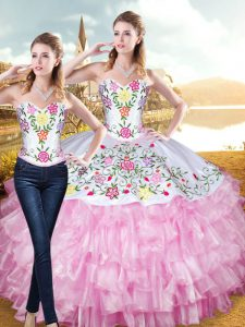 Rose Pink Lace Up Sweet 16 Quinceanera Dress Embroidery and Ruffled Layers Sleeveless Floor Length