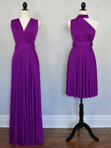Excellent Sleeveless Floor Length Beading and Ruching Lace Up Wedding Party Dress with Purple