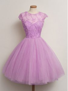 Lovely Knee Length Lilac Damas Dress Tulle Cap Sleeves Lace