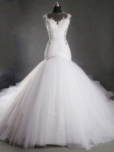 White Mermaid Scoop Sleeveless Tulle Chapel Train Zipper Lace Wedding Gown