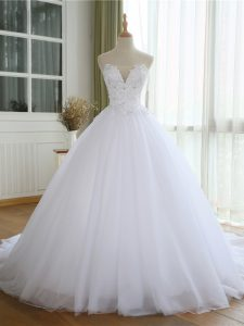 Traditional Court Train Ball Gowns Wedding Dress White Strapless Tulle Sleeveless Lace Up