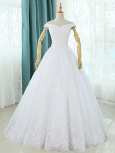 Glamorous White Sleeveless Tulle Lace Up Wedding Dresses for Beach and Wedding Party