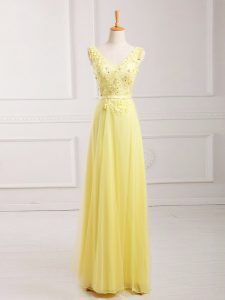 Floor Length Yellow Homecoming Dress Online V-neck Sleeveless Zipper