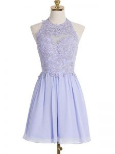 Lavender Lace Up Bridesmaid Gown Lace Sleeveless Knee Length
