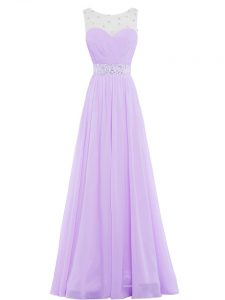 Lavender Chiffon Zipper Prom Gown Sleeveless Floor Length Beading