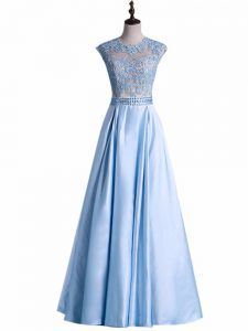 Floor Length Light Blue Homecoming Dress Taffeta Sleeveless Beading and Lace